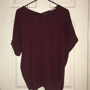 loose crossed V neck shirt sleeve shirt from Lush
